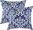 TreeWool, (Pack of 2) Damask Accent Throw Pillow Covers in Cotton Canvas (18 x 18 Inches; Navy Blue)