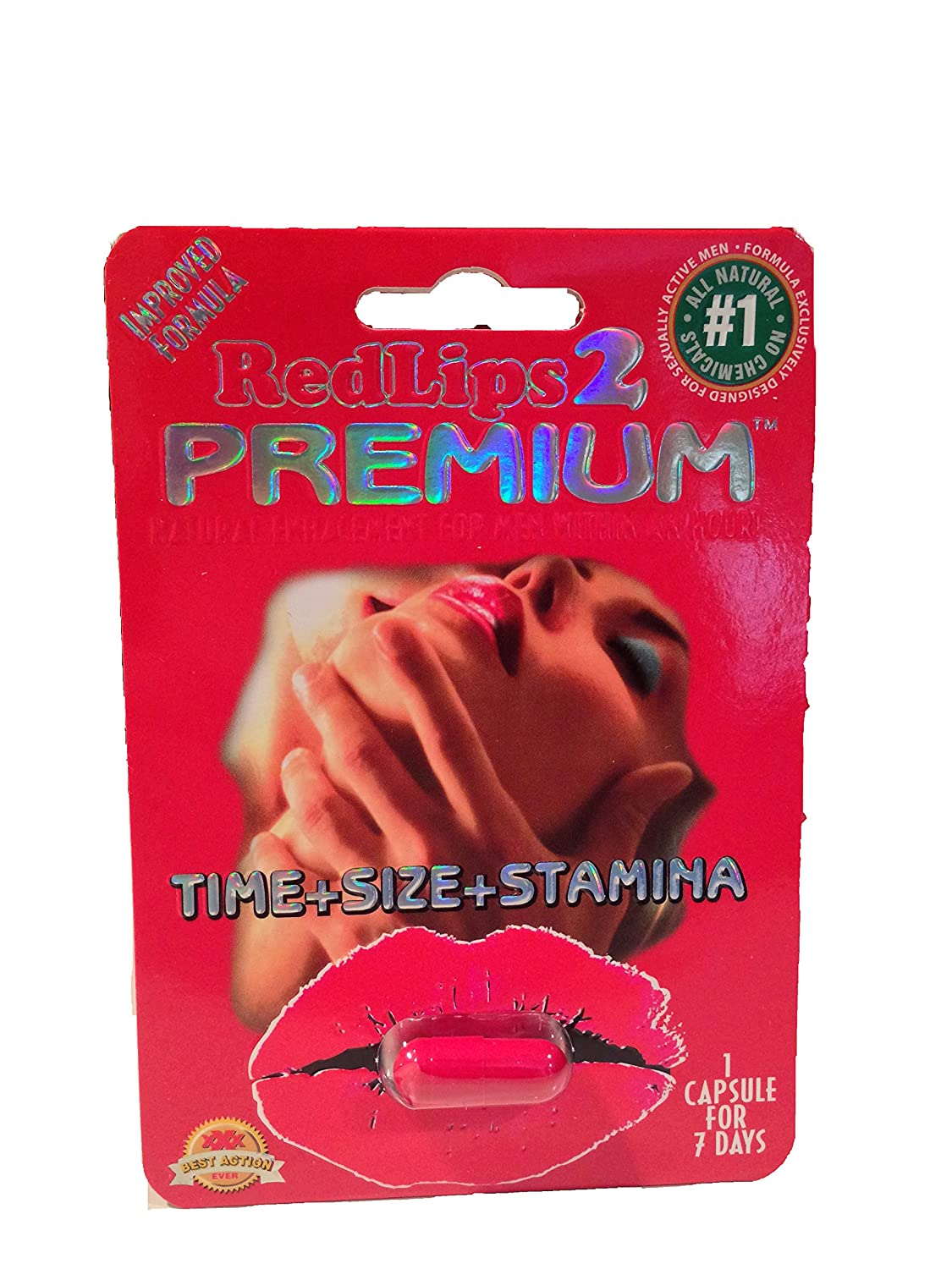RedLips 2 Premium Improved Formula Male Enhancement Sex Pill 1250mg!- 5 Pills!