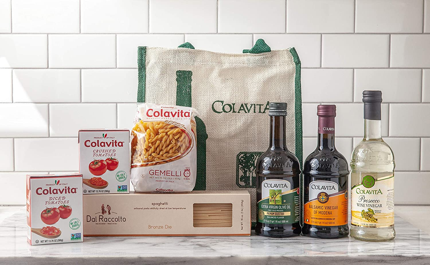 Colavita Italian Sampler Tote Gift Bag filled with Italian Specialties and Cookbook