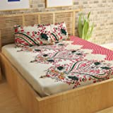 Story@Home Candy Elegant 120 TC Cotton Double Bedsheet with 2 Pillow Covers - Red