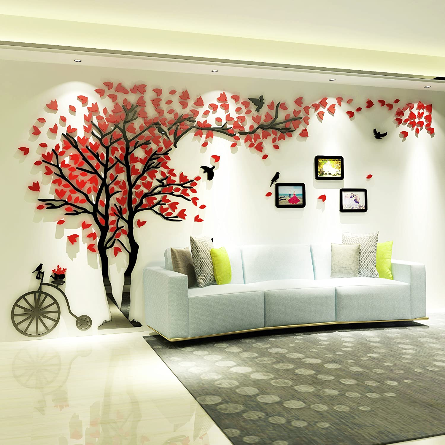 KINBEDY Acrylic 3D Tree Wall Stickers Wall Decal Easy to Install &Apply DIY Decor Sticker Home Art Decor. Red Leaves with Frames Left, Large
