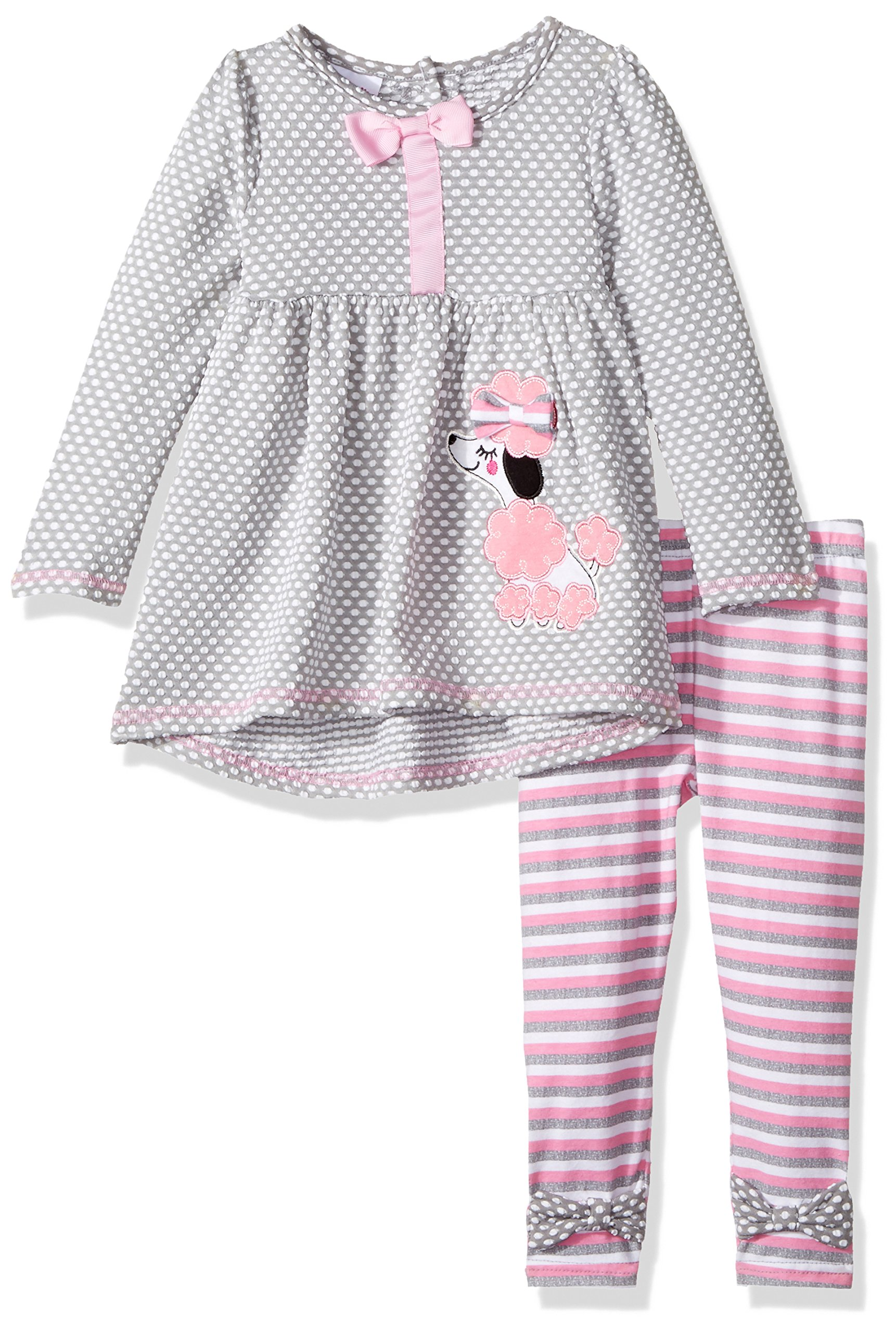 Nannette Baby Girls' Playwear Long Sleeve Top and Legging Set, Gray, 24m