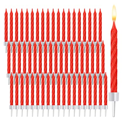 Red Glitter Striped Birthday Cake Candles in Holders (2 in, 288 Pack): Health & Personal Care