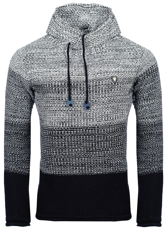 Karl's People by Carisma Herren-Strickpullover Kapuzenpullover 7396  Streetwear Menswear Autumn/Winter Knit Knitwear Sweater CRSM CARISMA Fashion:  Amazon.de: ...