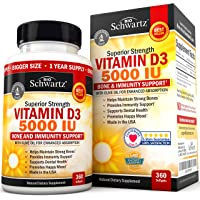Vitamin D3 5,000 IU for Immune Support, Healthy Mood, & Bone Strength - Gluten Free & Non-GMO Vitamin D Supplement with…