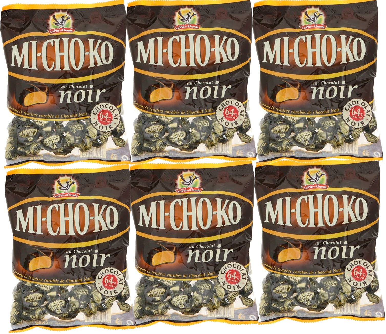 La Pie Qui Chante Mi-Cho-Ko Dark Chocolate Covered Caramels - 265 grams per bag - 6 bags