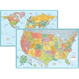 Rand McNally Signature United States USA and World Wall Map Set (Laminated Rolled)