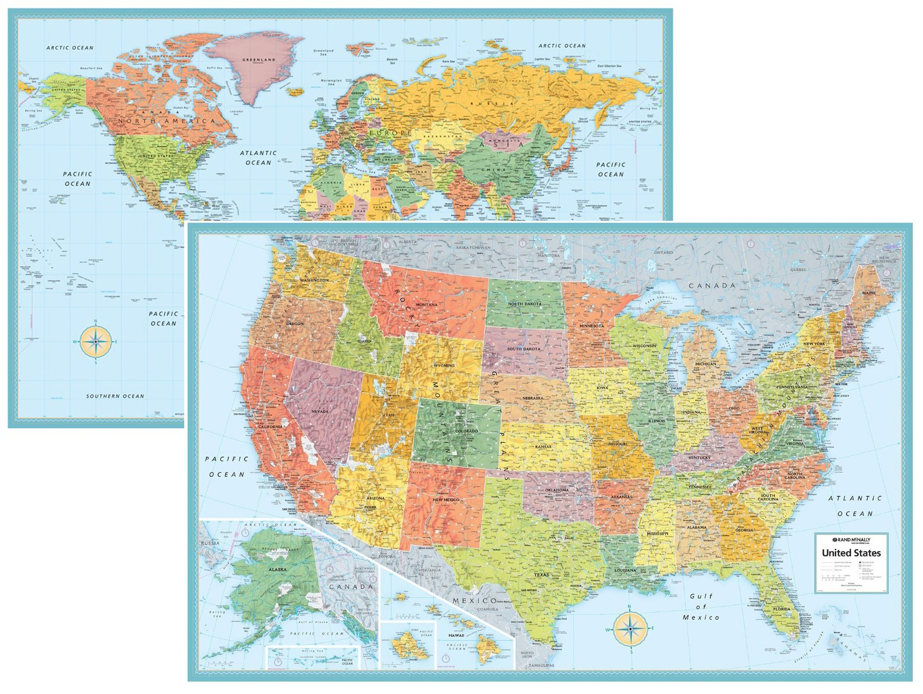 Rand McNally Signature United States USA And World Wall Map Set - Rand mcnally us wall map