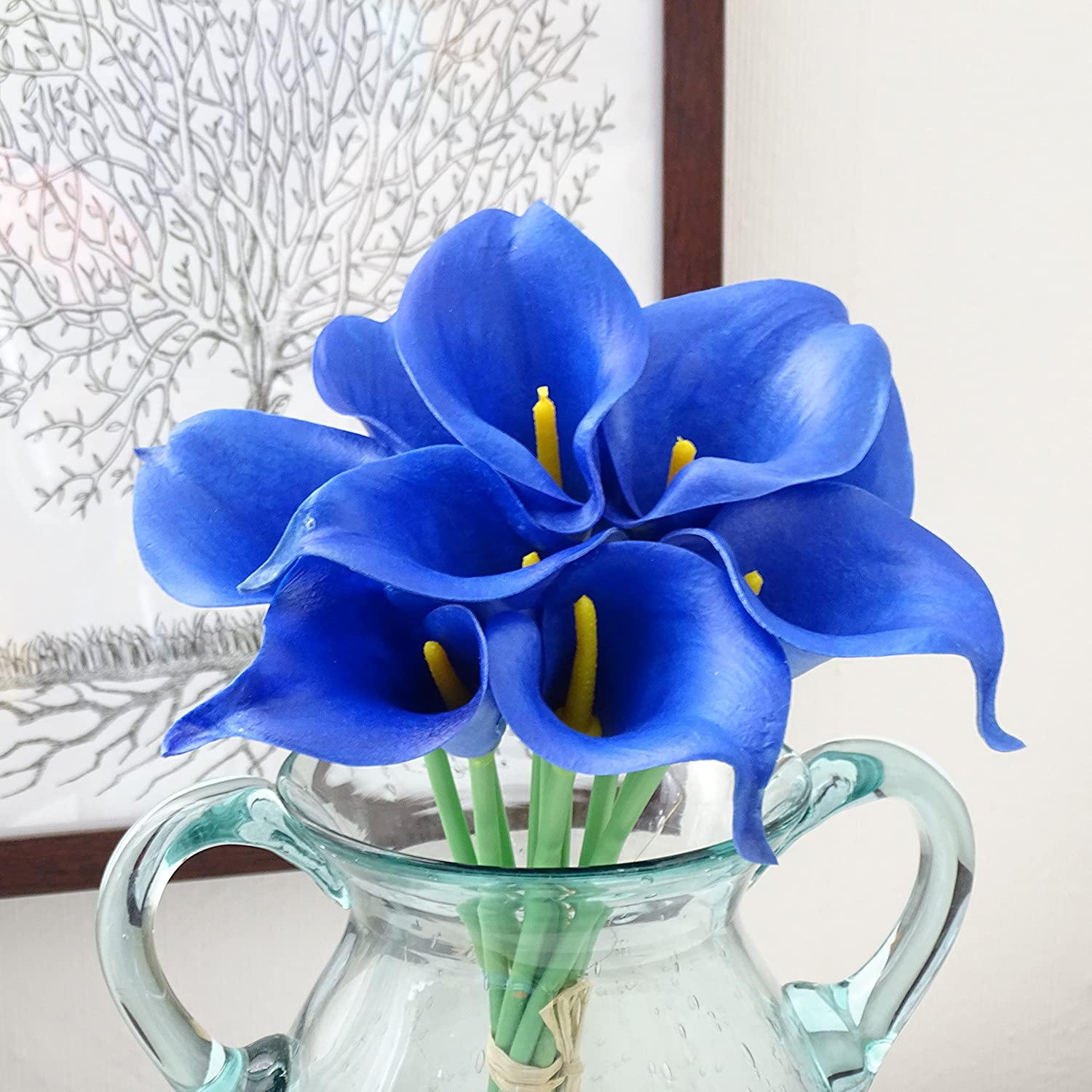 Amazon.com: HILINGO Royal Blue Calla Lily Wedding Posy Real Touch ...