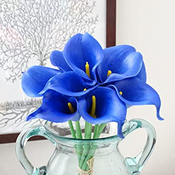 Amazon hilingo royal blue calla lily wedding posy real touch hilingo royal blue calla lily wedding posy real touch latex silk flowers bouquet artificial mightylinksfo Images