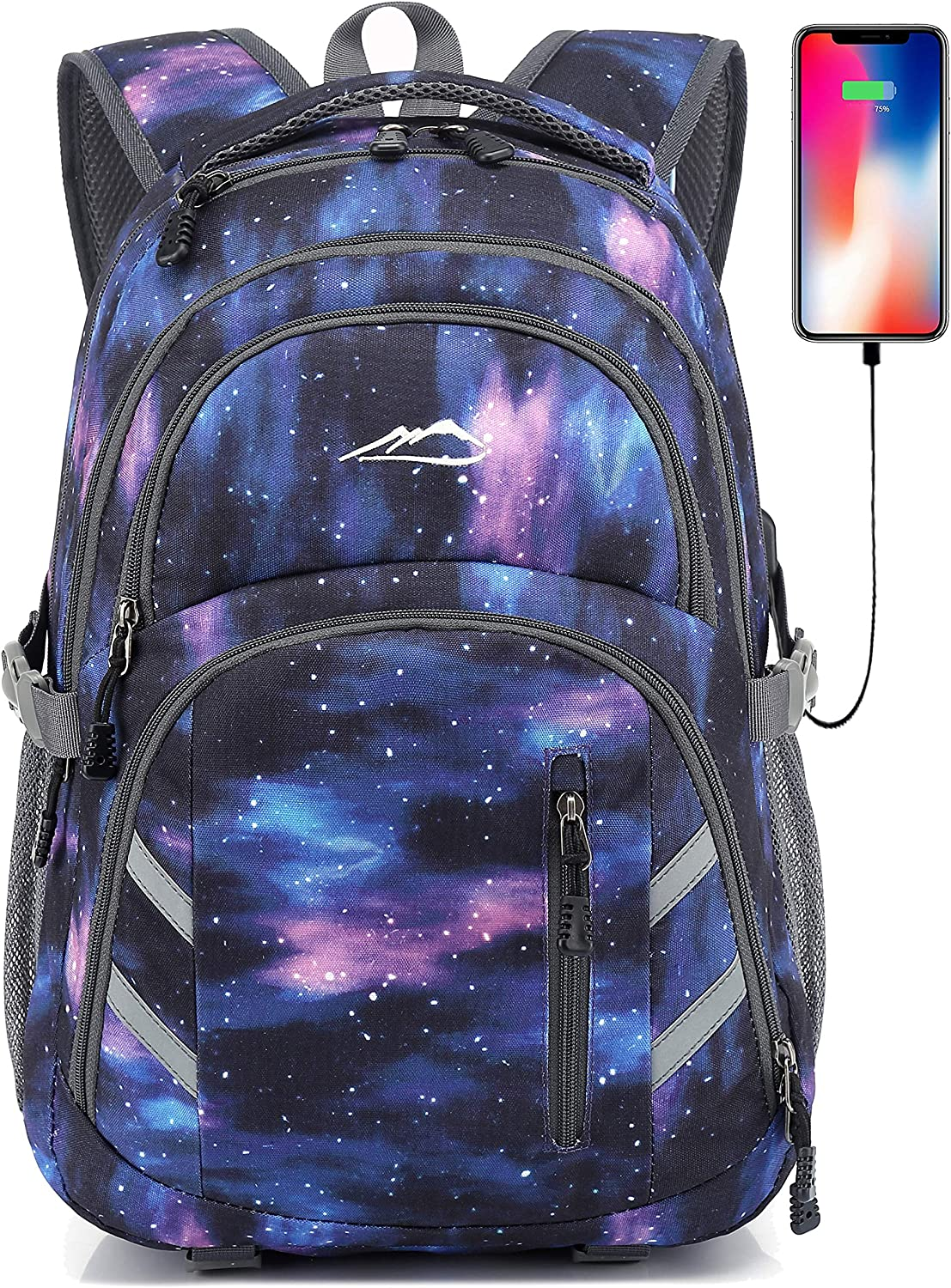 Backpack Bookbag for School College Student Laptop Travel with USB Charging Port