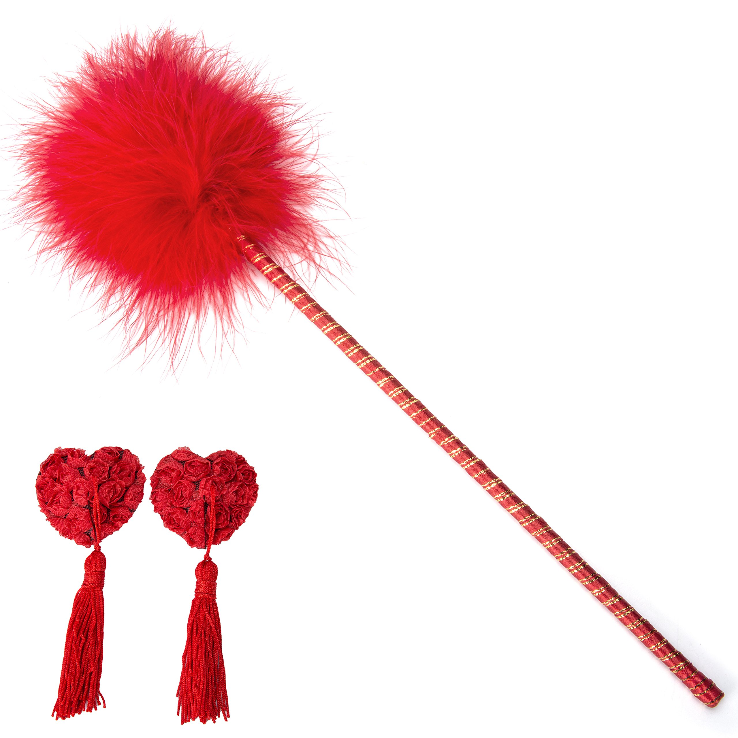 Tcouplesexy Love Sex Flirting Feather Tickler with Cover Pasties Stickers, Red, One Size