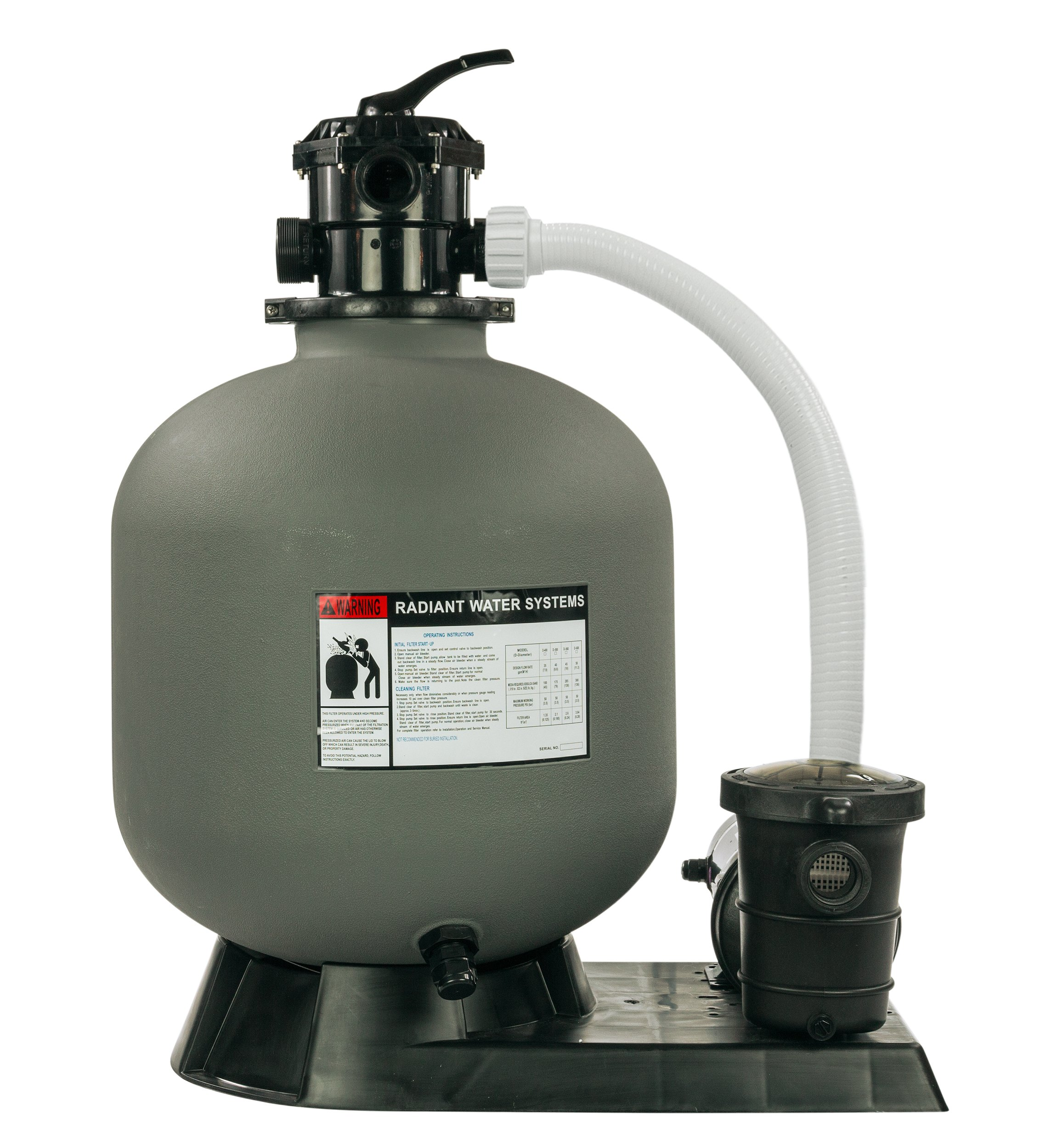 Rx Clear Radiant Complete Sand Filter System   for Above Ground Swimming Pool   Extreme Niagara 1.5 HP Pump   22 Inch Tank   220 Lb Sand Capacity   Up to 26,000 Gallons by Rx Clear