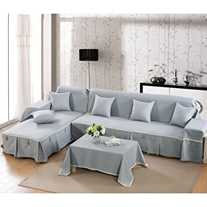 Amazing Vercart L Shaped Corner Sofa Throw Cover Polyester Gray Home Remodeling Inspirations Genioncuboardxyz