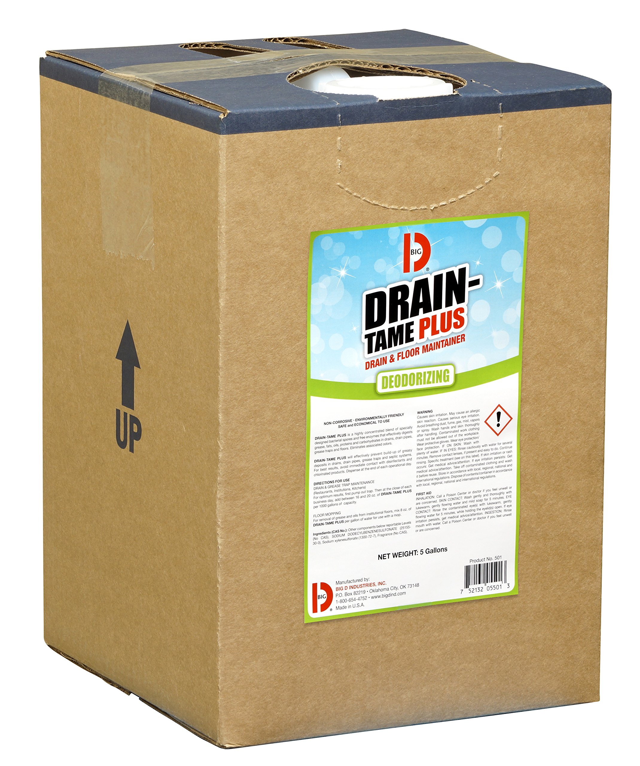 Big D 5501 Drain-Tame Plus Drain & Floor Maintainer, 5 Gallon Pail - Digests grease, proteins, fats, oils, waste - Ideal for use in grease traps, restaurants, septic systems and institutional floors