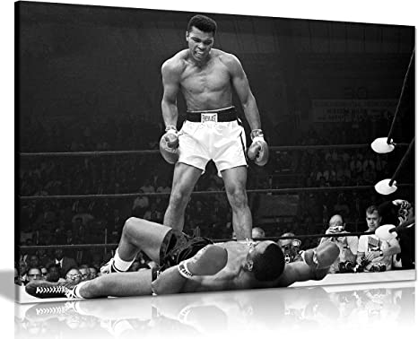 50 x 76 cm tama/ño grande Cuadro enmarcado de Muhammad Ali Knock Out en lienzo A1