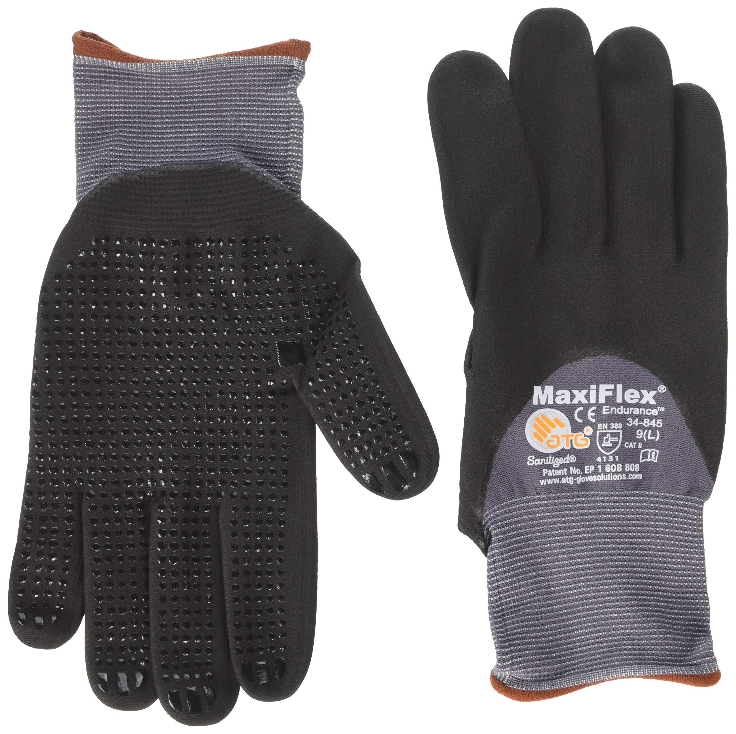 ATG 34-845/L Maxiflex Endurance Nylon, Micro-Foam Nitrile 3/4 Grip Gloves, Large, Black/Gray, 12 Pairper Pack