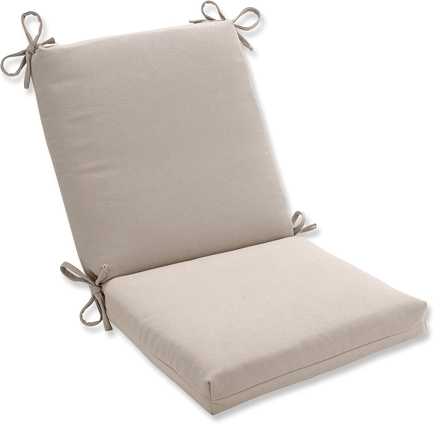 Pillow Perfect Indoor Outdoor Beige Solid Chair Cushion, Squared