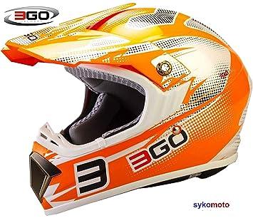 3GO E66X ADULTOS MOTOCROSS DIRT ATV OFF ROAD QUAD ENDURO ACU ECE CERTIFICADO CASCO NARANJA (
