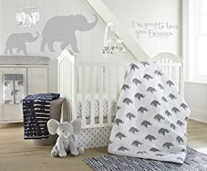 Levtex Baby Malawi Navy Elephants 5 Piece Crib Bedding Set, Quilt, 100% Cotton Crib Fitted Sheet, Dust Ruffle, Diaper Stacker and Large Wall Decals