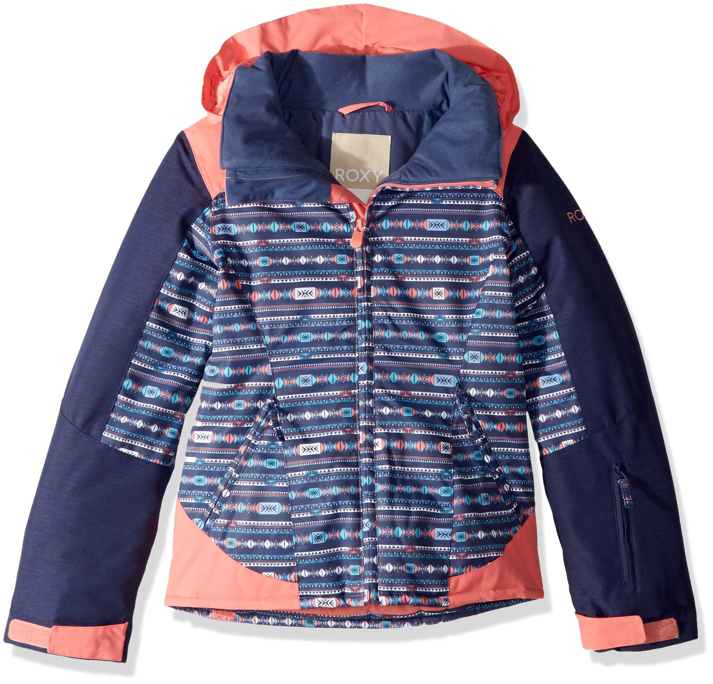 Roxy Little Sassy Girl Snow Jacket, Crown Blue_Indie Stripes, 8/S