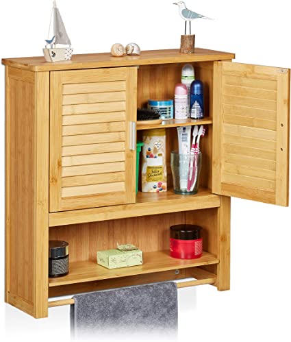 Relaxdays - Estante de pared con armario LAMELL, bambú, 66 x 62 x 20 cm, cuarto de baño, 2 puertas color natural