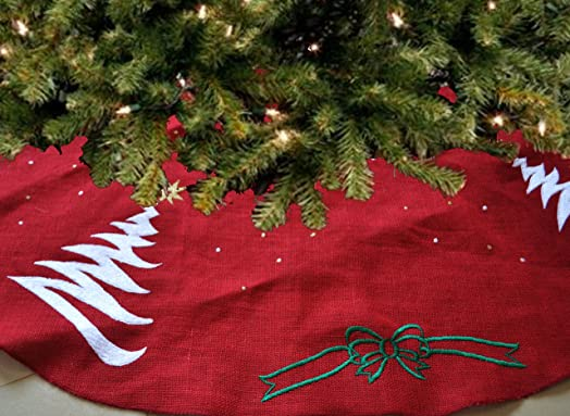 Amore Beaute Handmade Christmas Tree Skirt Red Jute Embroidered Holiday Decoration Season Santa Claus