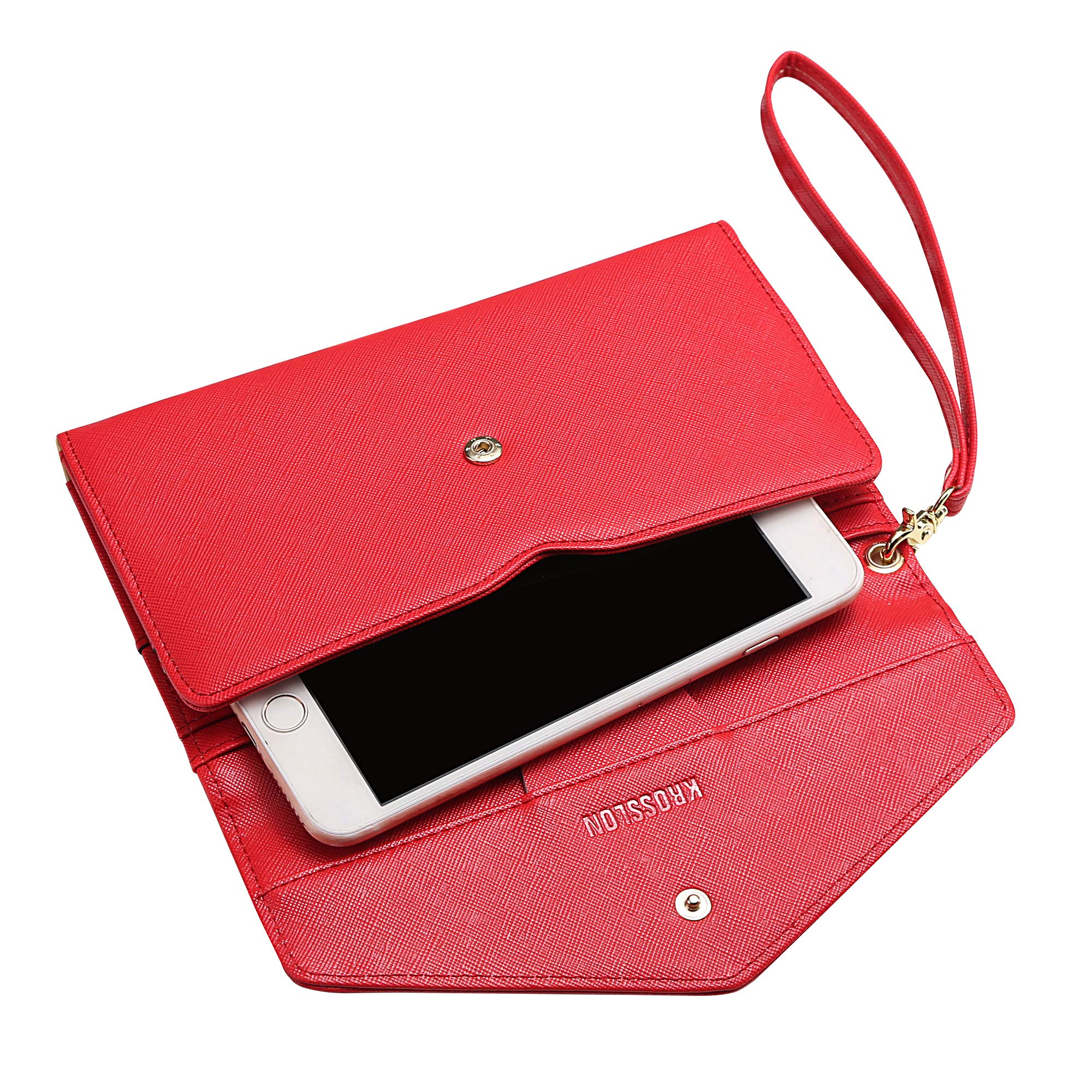 Krosslon Travel Passport Wallet for Women Rfid Wristlet Slim Family Document Holder, 11# Agate Red by KROSSLON (Image #6)