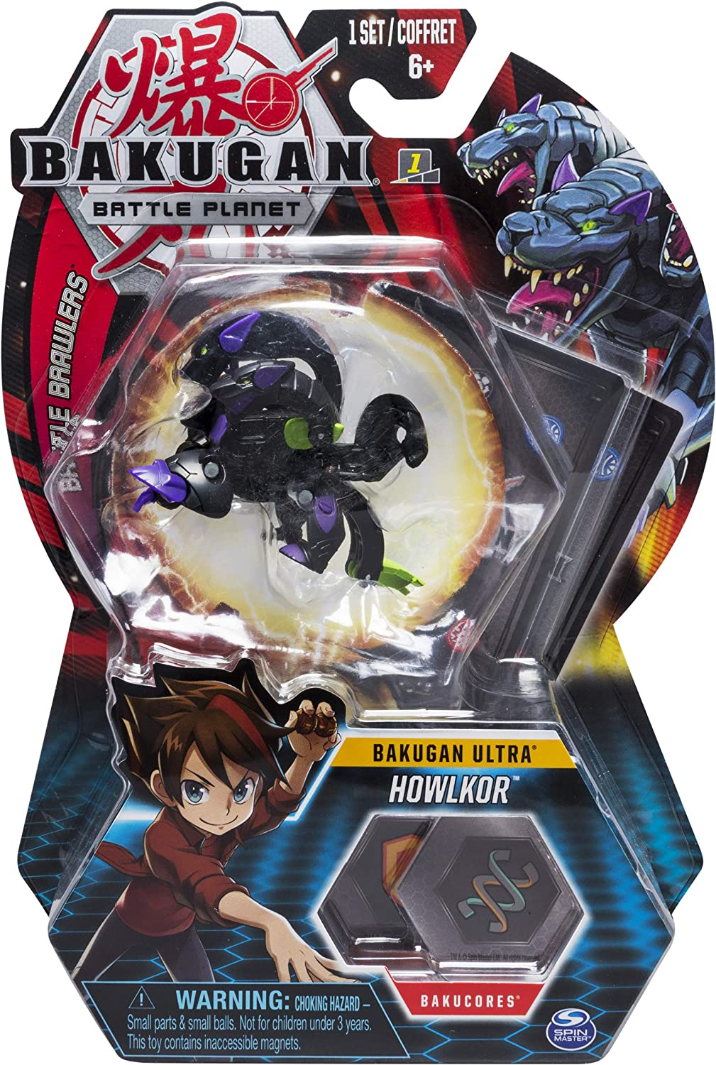 "Bakugan Ultra, Howlkor, 3"" Tall Collectible Transforming Creature, For Ages 6 & Up, Multicolor"