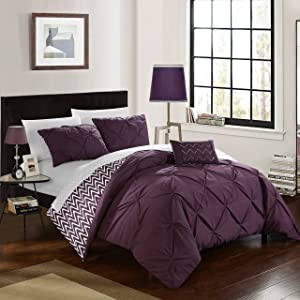 Chic Home Jacky 4 Piece Reversible Comforter Bag Pinch Pleat Ruffled Design Geometric Chevron Pattern Bedding Set-Decorative Pillow Shams Included, Full/Queen, Purple