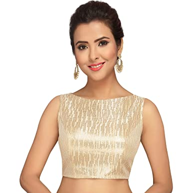 b6e8a01eb3d66b Studio Shringaar Women's Polyester Stitched Sleeveless Saree Blouse (S2070;  Golden; ...
