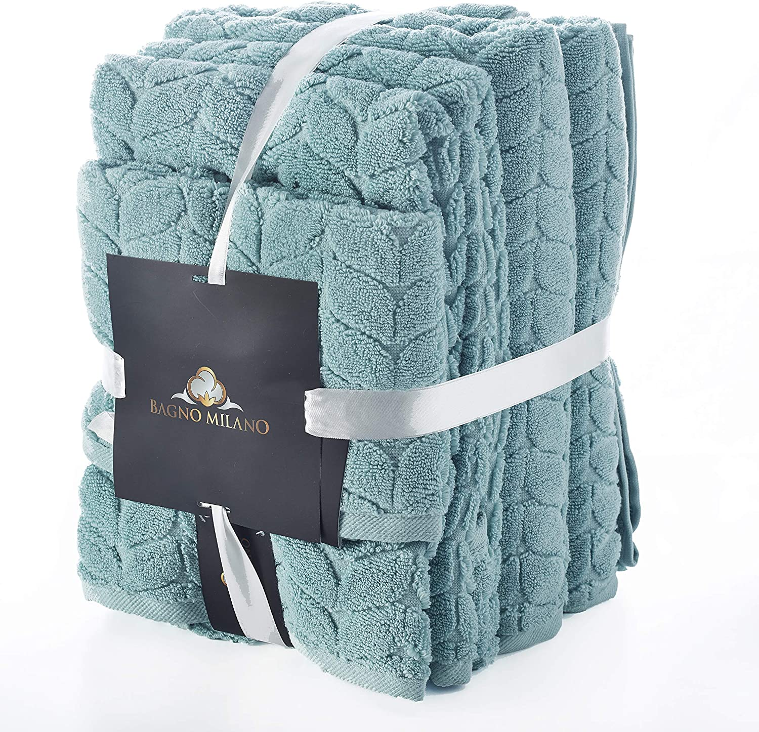 Bagno Milano Turkish Cotton Luxury Softness Spa Hotel Towels, Quick Drying Thick and Plush Bathroom Towels, Made in Turkey (Mint, 6 Pcs Towel Set)