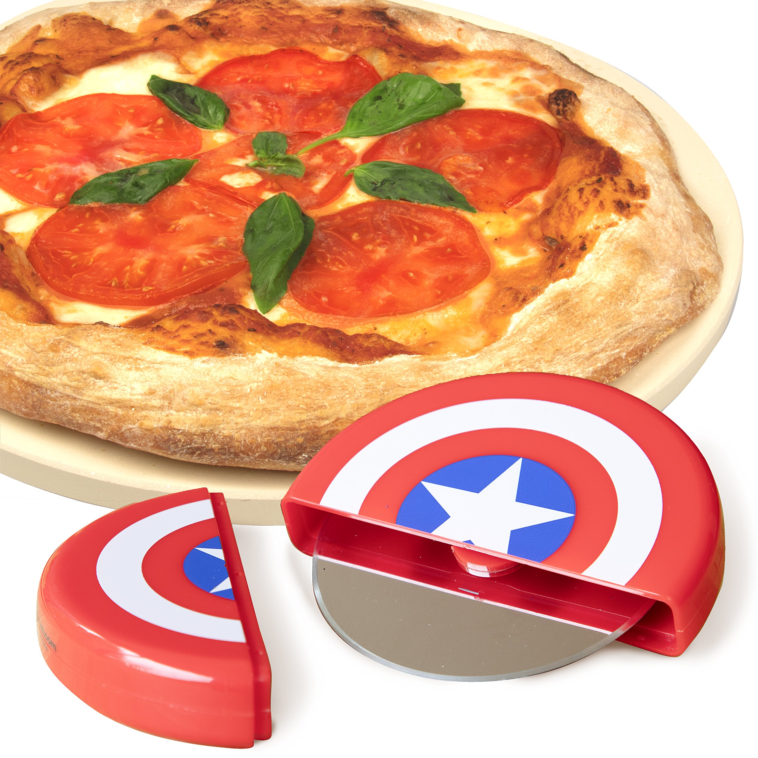 Marvel Captain America Pizza Cutter - Stainless Steel Blade with Shield Case