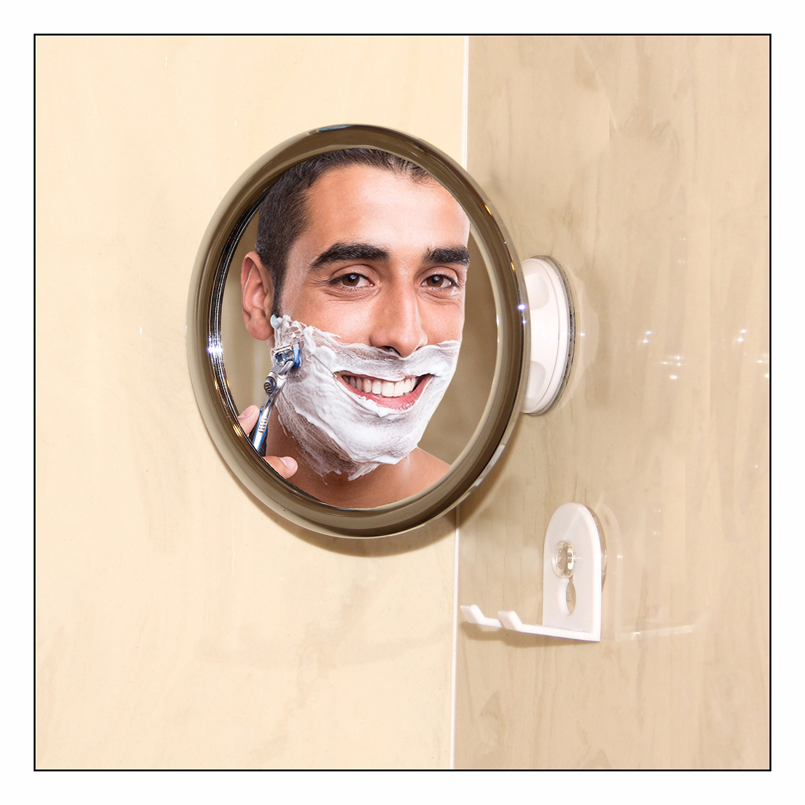 Upper West Collection No Fog Shower Mirror with Rotating, Locking Suction; Bonus Separate Razor Holder   Adjustable Arm for Easy Positioning   Best Personal Mirror for Shaving Available   The by Upper West Collection (Image #7)
