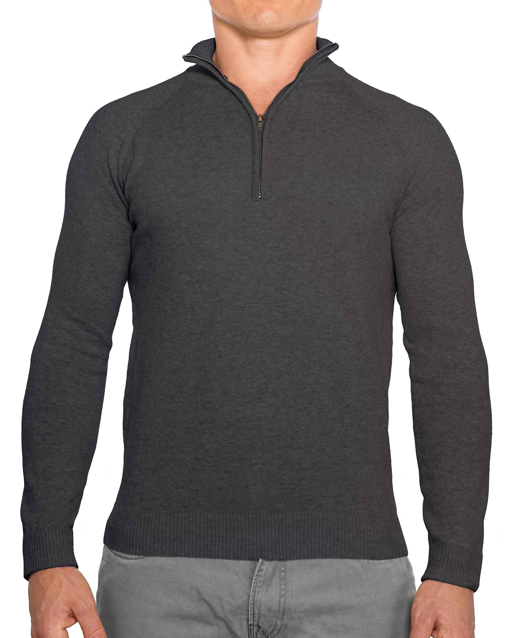 CC Perfect Slim Fit 1/4 Quarter Zip Pullover Men | Durable Mens Sweater with Wash Friendly Fabric | Soft Fitted Sweaters for Men, Large, Charcoal Grey by Comfortably Collared