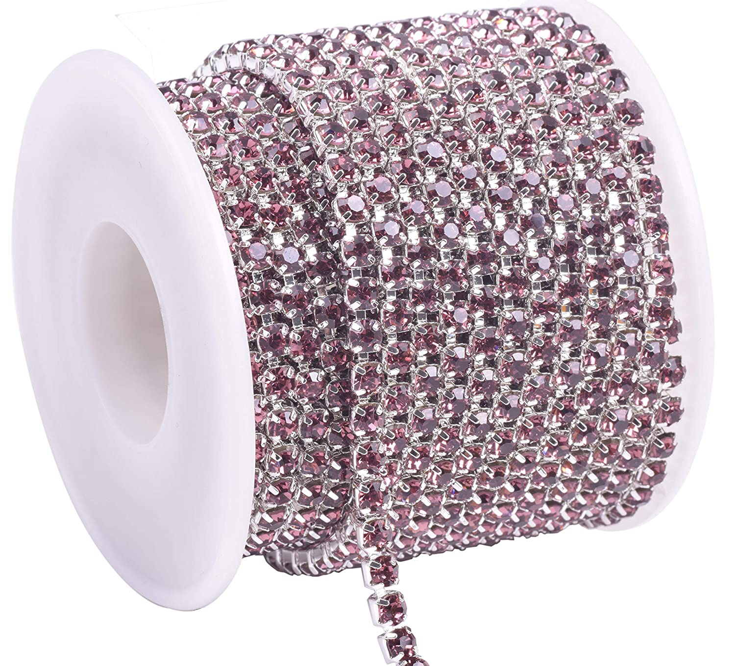 KAOYOO 1 Roll 10 Yards Crystal Rhinestone Close Chain Trim Silver Chain with Light Violet Crystal Beads SS16//4.0mm