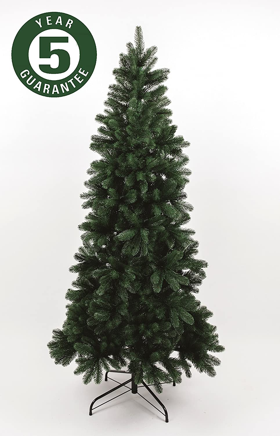 best artificial slim premium 7ft 205cm real feel hinged christmas tree with 1100 full pe tips for indoor xmas with 5 year guarantee amazoncouk kitchen