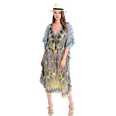 NFASHIONSO Long Maxi Beach Dress Swimsuit Sunscreen Bikini Cover Up Bathing Suit at Women's Clothing store