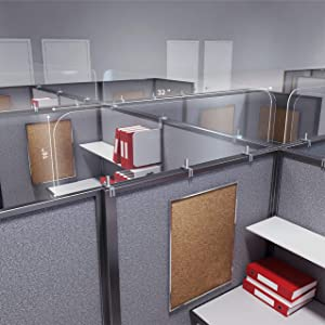 "Acrylic Protective Guard for Cubicles, Divider Barriers for Cubicle Partition, Office Desk Partition Panels with Clamps (32"" x 16"")"