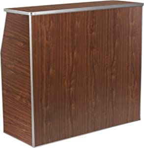 Flash Furniture 4' Walnut Laminate Foldable Bar