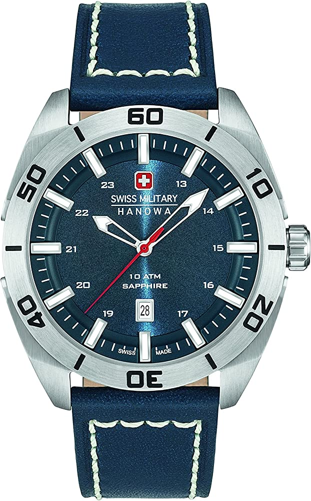 Swiss Militar Hombre Reloj de Cuarzo con Esfera Analógica Azul Pantalla y Correa de Piel Color Azul 6 – 4282.04.003: Amazon.es: Relojes