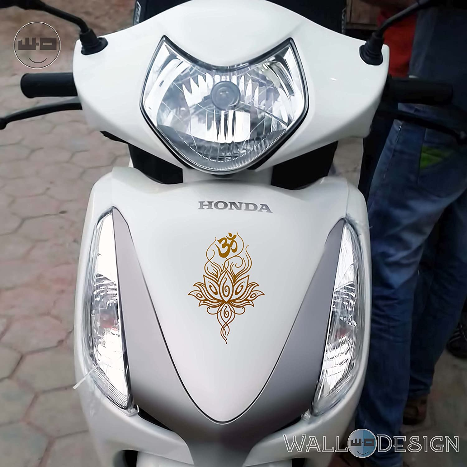 Walldesign decals for bikes aum design gold colour reflective stickers amazon in car motorbike
