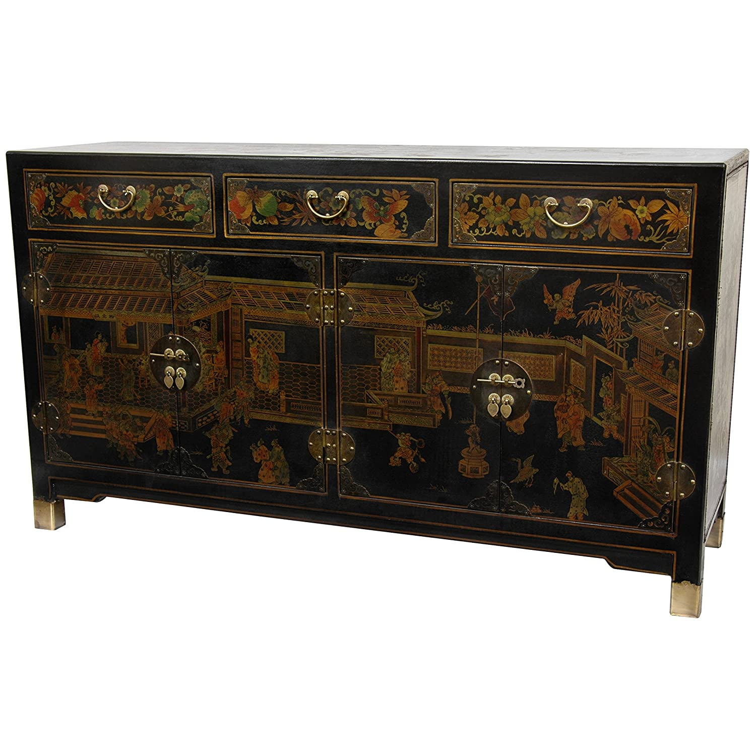 Amazon.com   Oriental Furniture Black Lacquer Large Buffet Table   Buffets  U0026 Sideboards
