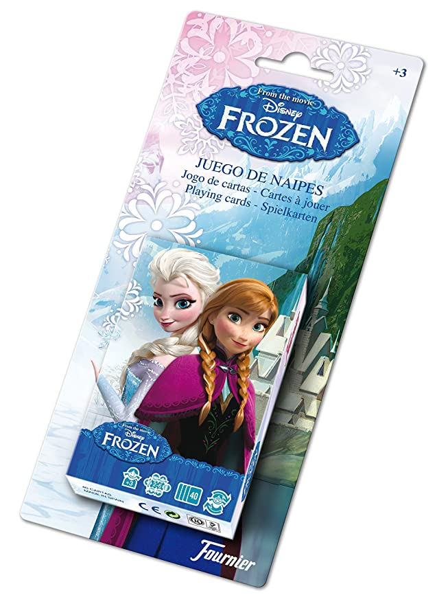 Disney- Frozen Baraja de Cartas Infantil, Color Negro (Naipes Heraclio Fournier 1028179)