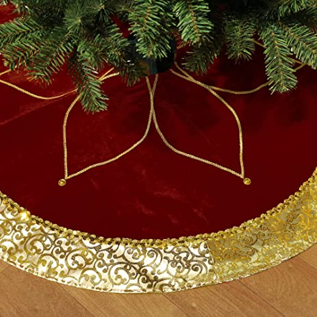 Valery Madelyn 48quot Traditional Red And Gold Christmas Tree Skirt With Flower DesignThemed
