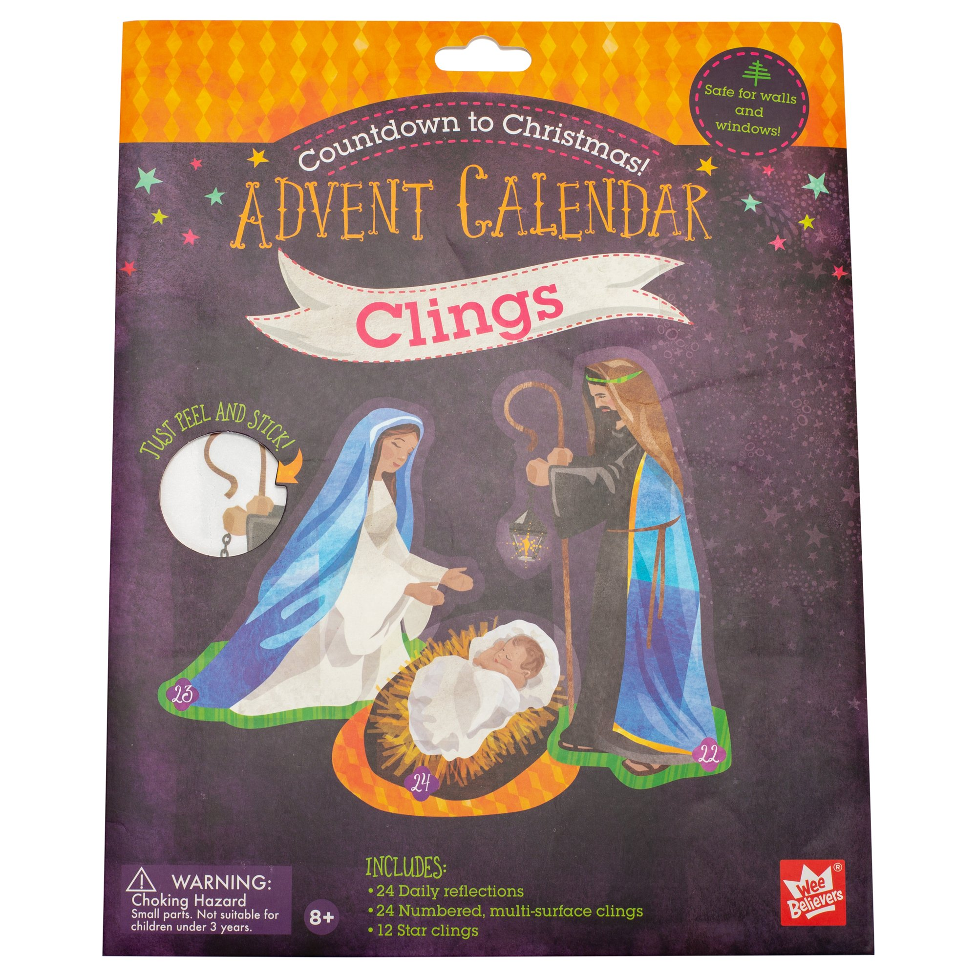 Wee Believers Countdown to Christmas Advent Calendar 45 Piece Cling Stickers Set