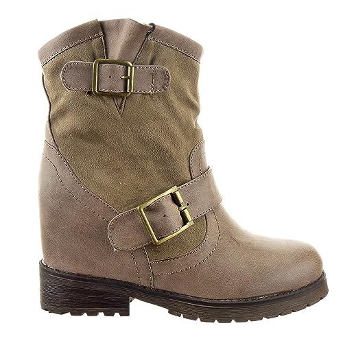 Sopily - Zapatillas de Moda Botines Plataforma Botas plisadas Low boots A medio muslo mujer Hebilla