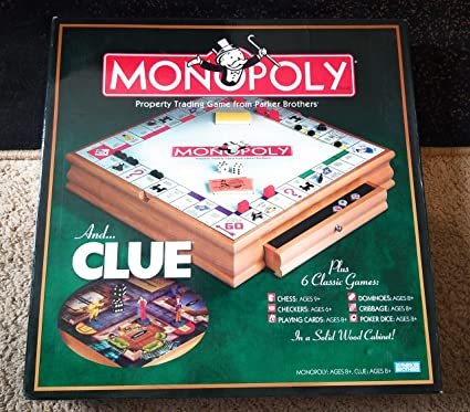 Hasbro Parker Brother Wooden Board Games Monopoly Clue Plus 6 Other Board Games