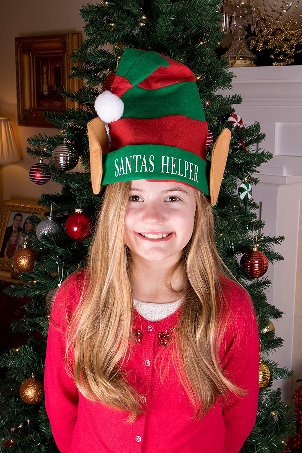 Measures 11.5 x 17 Red and White Striped Santas Lil Elf Hat with White Pom Pom and Elf Ears One Size Fits Most Clever Creations Christmas Elf Hat