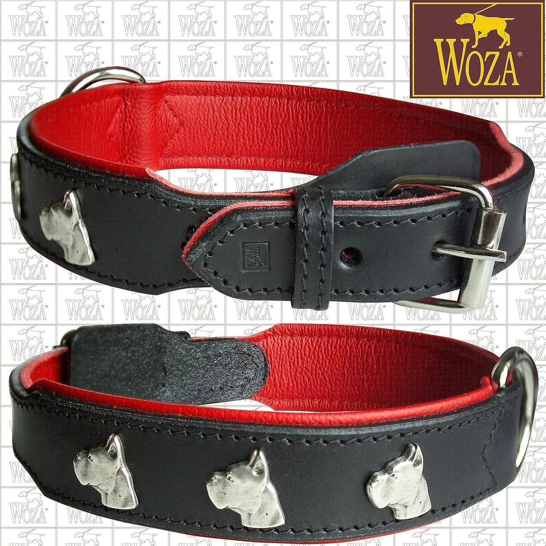 3.8 60 (43-53CM) Premium Dog Collar Woza Full-Grain Leather Black Cowhide Nappa Red Handmade Collar